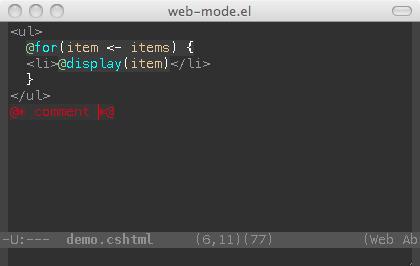 web-mode el - html template editing for emacs