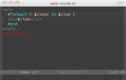 web-mode el - html template editing for emacs