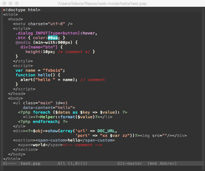web-mode.el - html template editing for emacs